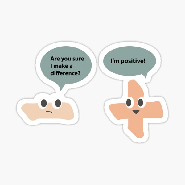 Funny Math Joke - Conversation between Minus and Addition symbols Sticker