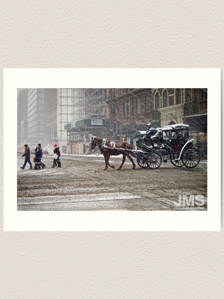 Alternate view of Horse & Carriage in February Blizzard Art Print