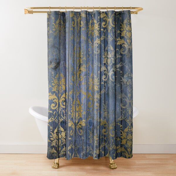 Navy Blue Faux Wood With A Gold Grunge Damask Overlay Shower Curtain