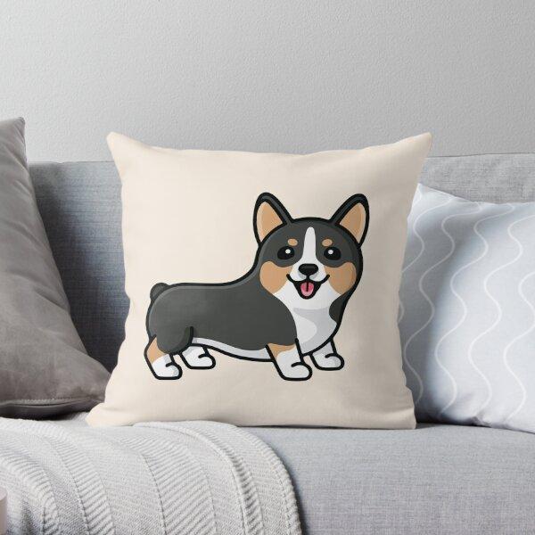 Black Corgi Throw Pillow