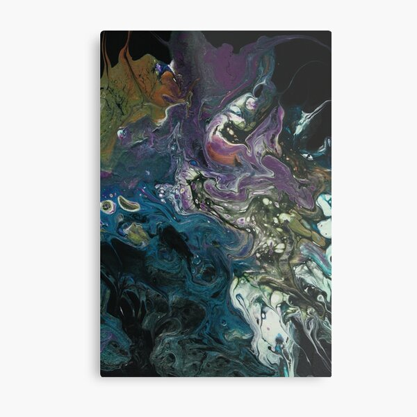 Purple and Blue Abstract Painting Metal Print