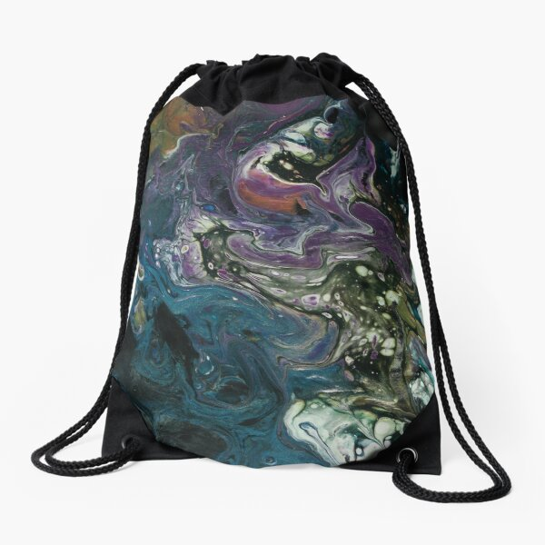 Purple and Blue Abstract Painting Drawstring Bag