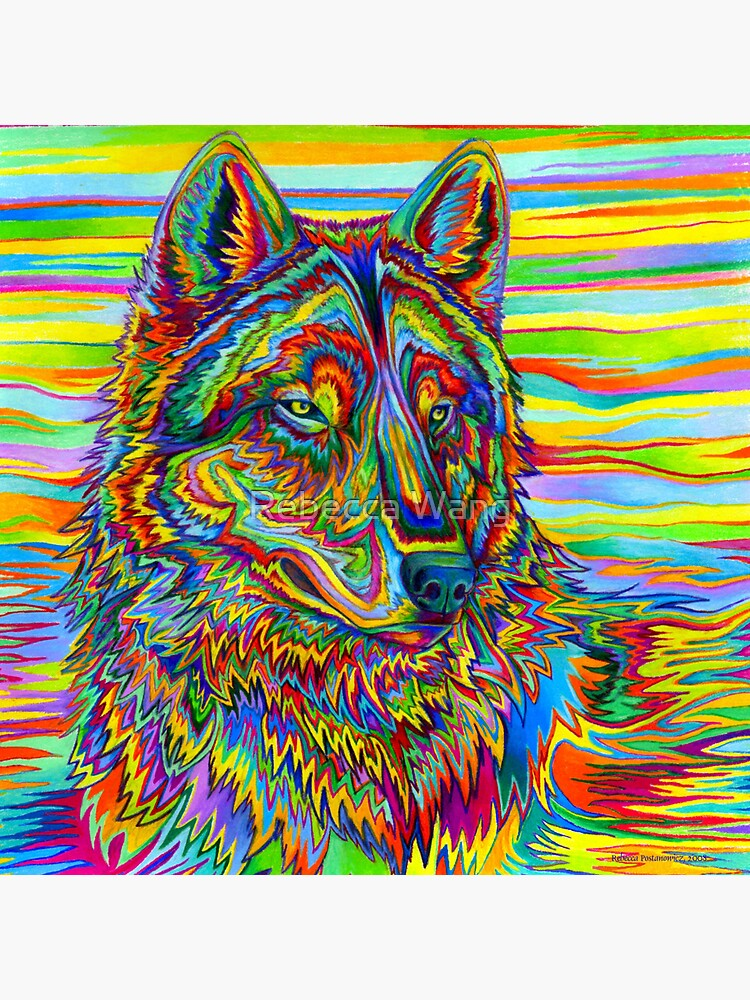 Colorido Psychedelic Rainbow Wolf de lioncrusher