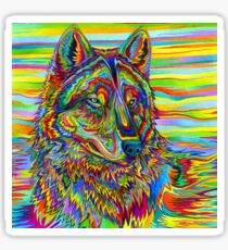 Colorful Psychedelic Rainbow Wolf Sticker