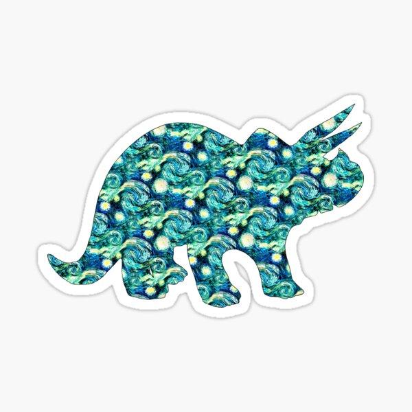 Starry Night Triceratops Silhouette  Sticker