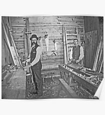 Cabinet Cards: 2 Finish Carpenters On Site c1880 Poster