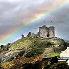 Rainbow over the Castle . by Irene  Burdell