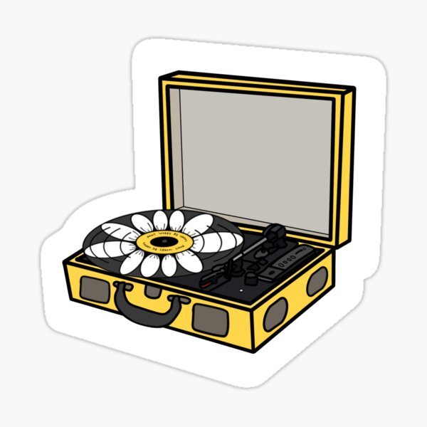Yellow Daisy Record Player Sticker