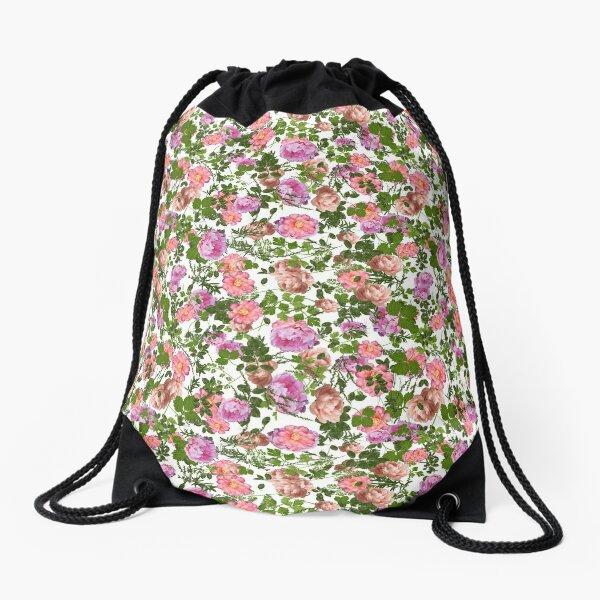 Pink peonies and foliage Drawstring Bag
