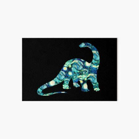 Starry Night Longneck Dinosaur Silhouette  Art Board Print