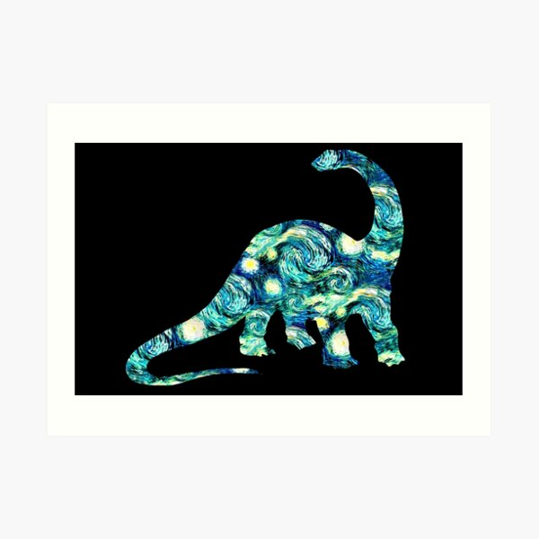 Starry Night Longneck Dinosaur Silhouette  Art Print