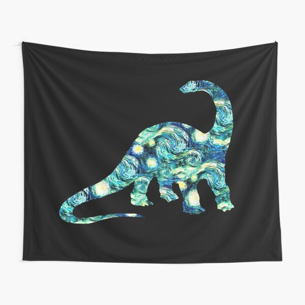 Starry Night Longneck Dinosaur Silhouette  Tapestry