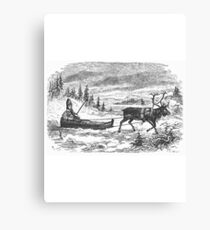 Small sleigh and reindeer Canvas Print