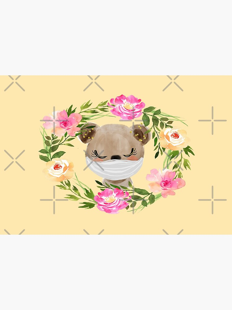 Cute Baby Bear with Face Mask and Flowers by mexicandoo