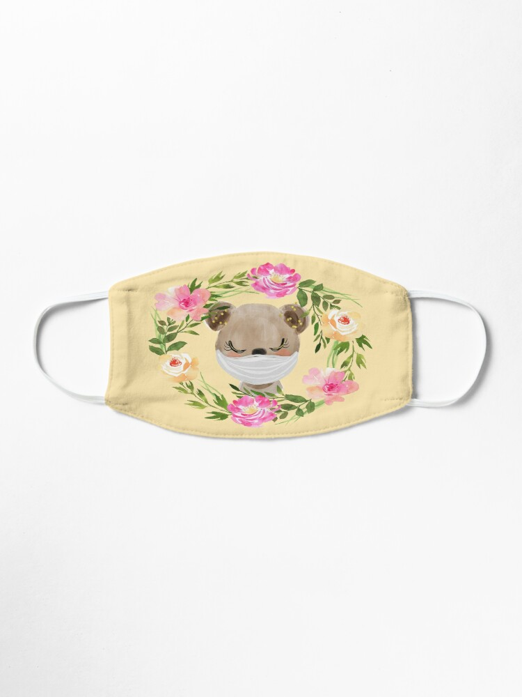 Alternate view of Cute Baby Bear with Face Mask and Flowers Mask