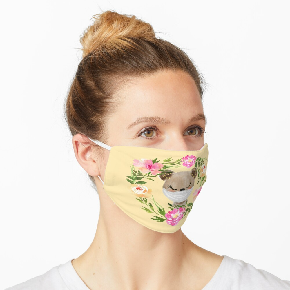 Cute Baby Bear with Face Mask and Flowers Mask