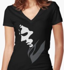 Mysterious with Cheekbones Women's Fitted V-Neck T-Shirt