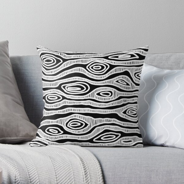 Authentic Aboriginal Art - Tree (white) Throw Pillow
