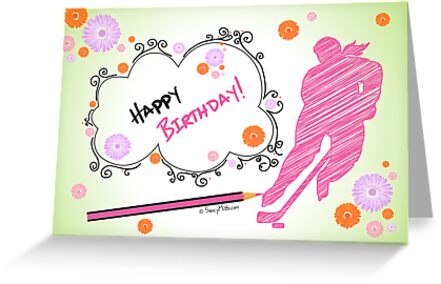 Hockey Birthday Card Scribble Female Greeting Cards By Saucymitts