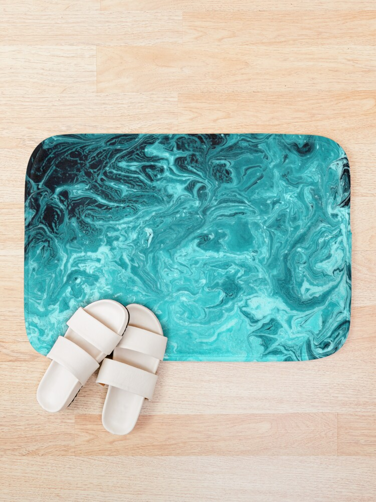 Alternate view of Wave Turquoise Bath Mat