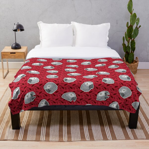 African Grey Parrots Pattern (Red) Throw Blanket