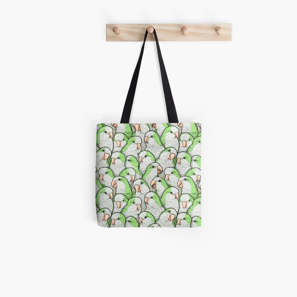 Green Quaker Parrots Tote Bag
