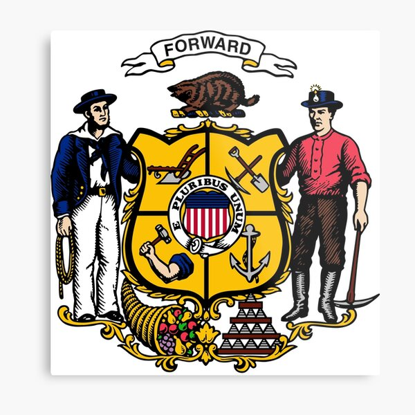 Flags of the World Coat of arms of Wisconsin Metal Print