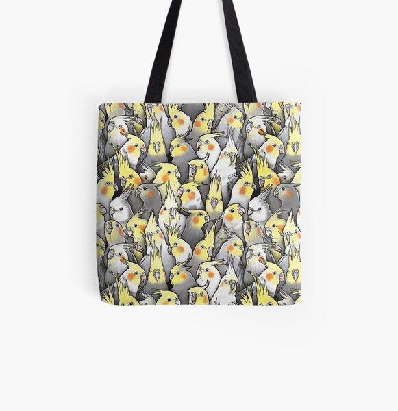 Cockatiels en abundancia Bolsa estampada de tela