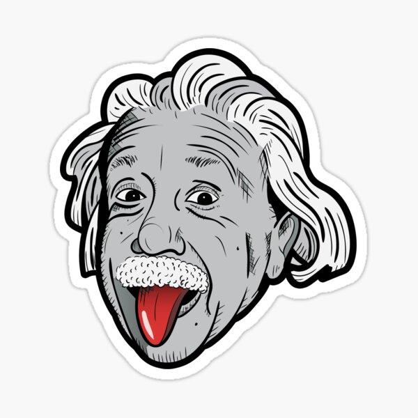 Albert, Einstein, famoso, persona, gente, hombre, caras, teórico, física, gracioso, humor, relatividad, ciencia, científico, arte Pegatina