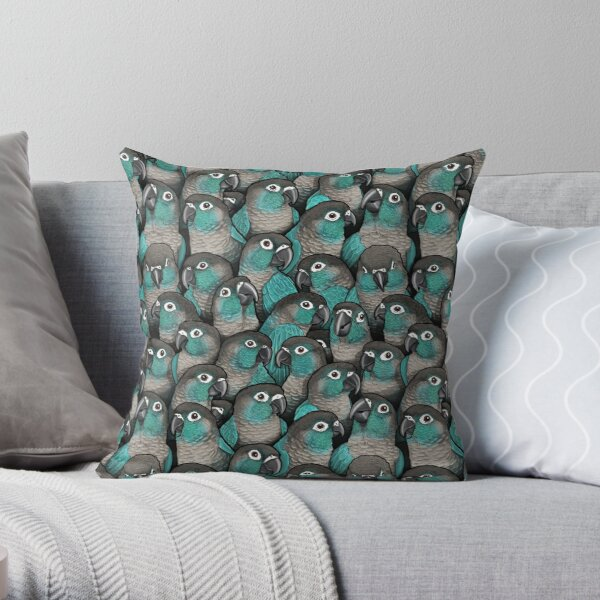 Turquoise Green-Cheeked Conures Throw Pillow