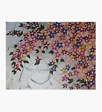 peach pink green purple silver with flowers  Photographic Print