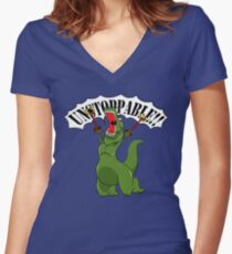 Unstoppable T-Rex Women's Fitted V-Neck T-Shirt