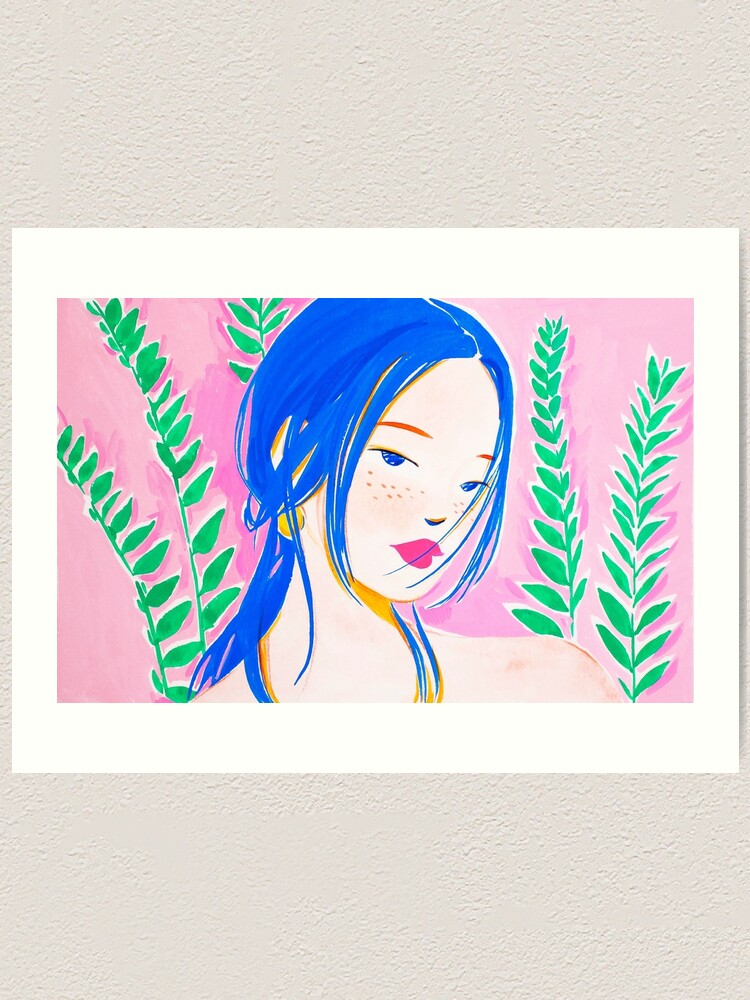 Alternate view of Girl and Aroid Palm Art Print