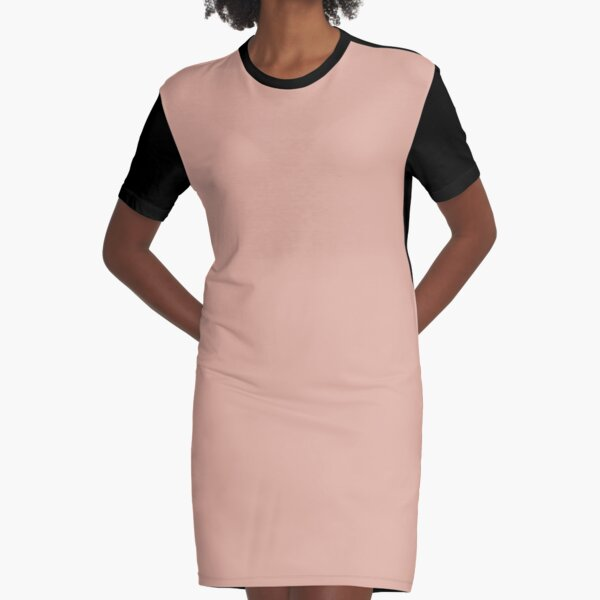 Dusty Pink Color  Graphic T-Shirt Dress