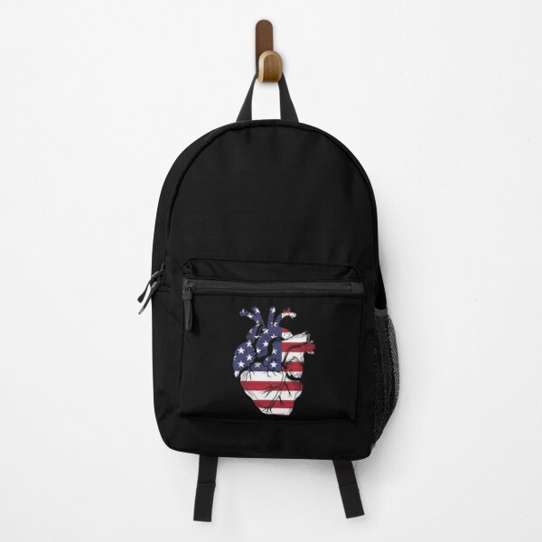 United States Human Heart Flag Face Mask Backpack