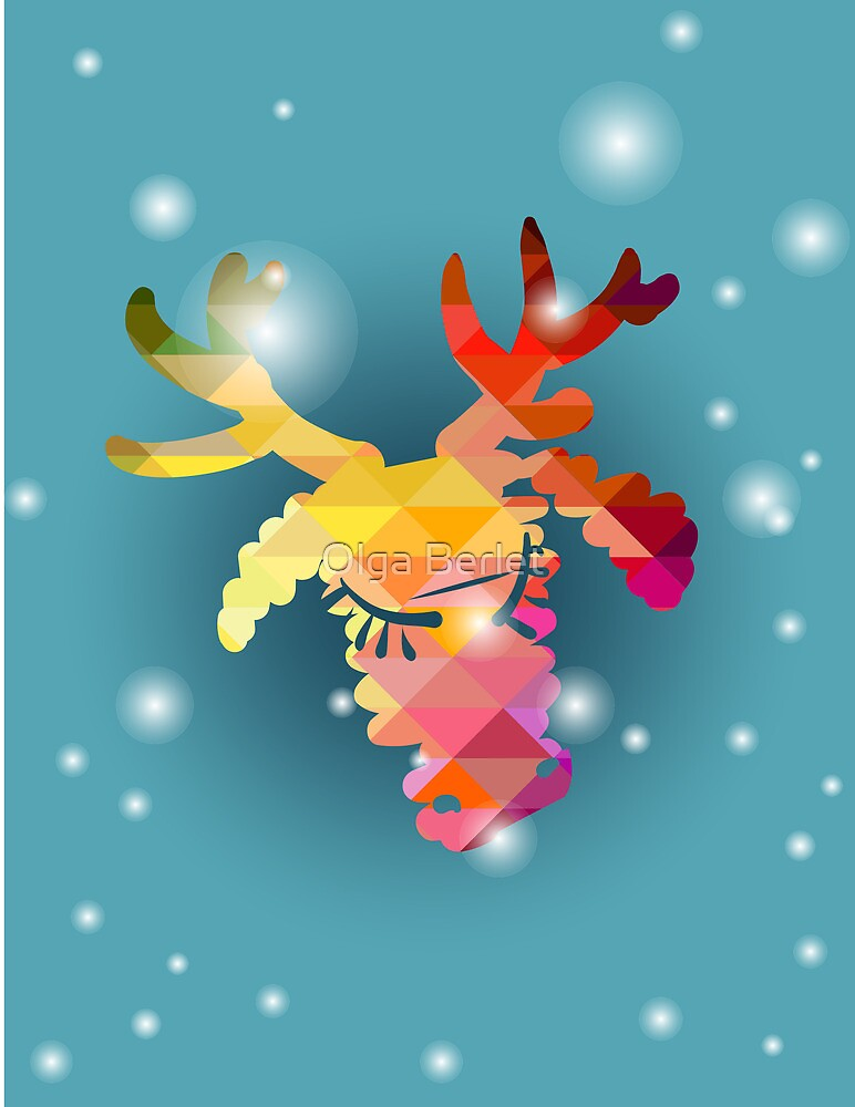 Christmas deer and New Year hand-painted decoration by OlgaBerlet