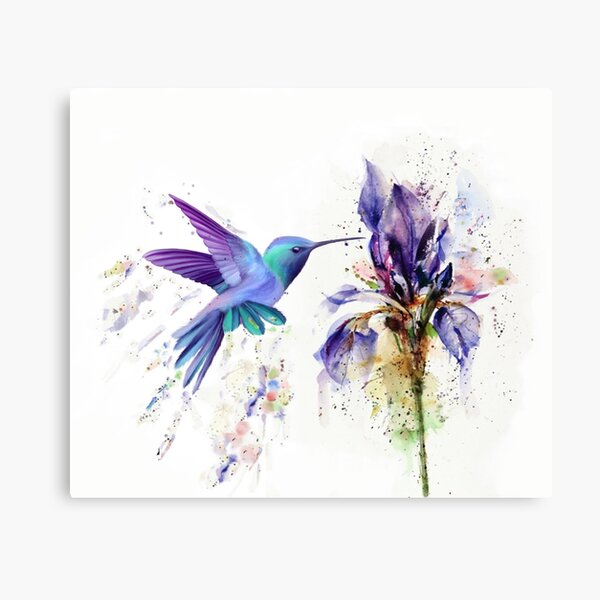 Hummingbird Floral Watercolor Purple Tones Canvas Print
