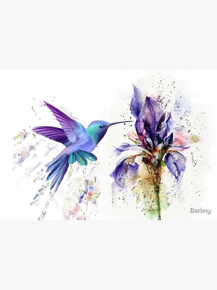 Hummingbird Floral Watercolor Purple Tones by Barbny