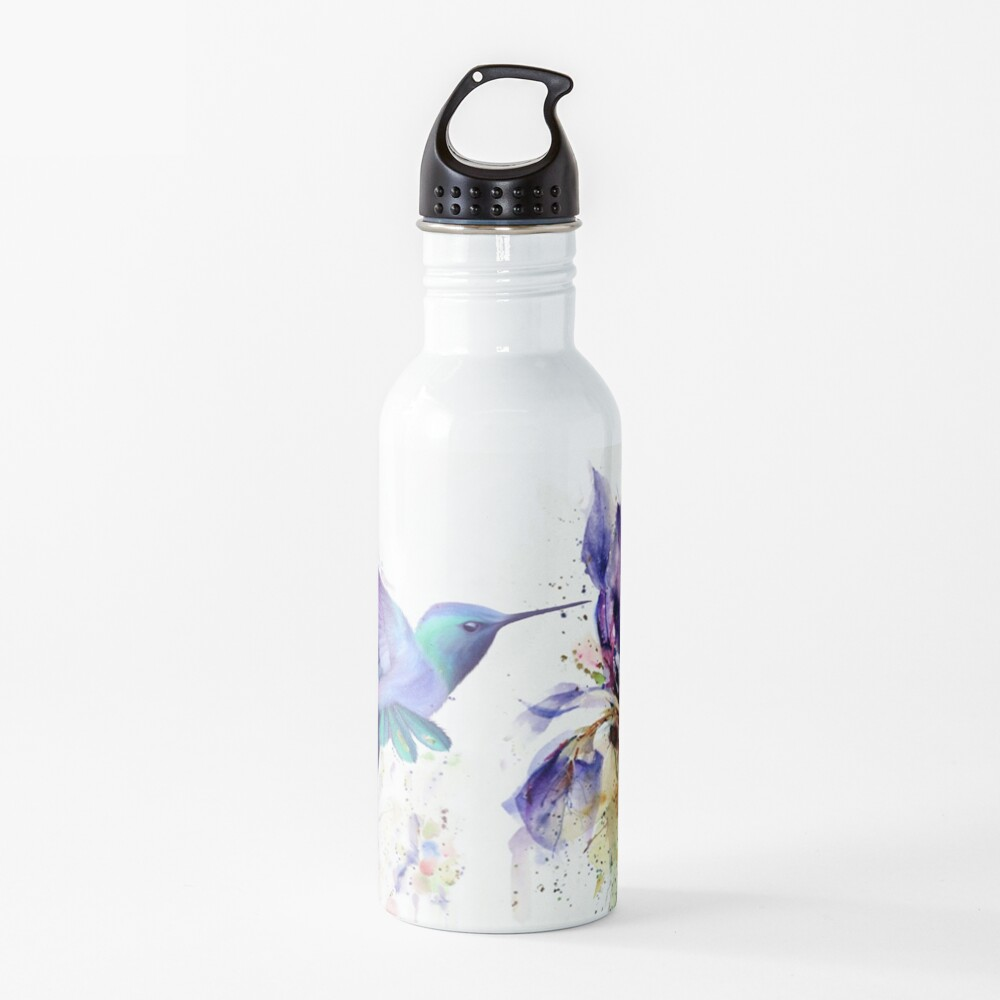 Hummingbird Floral Watercolor Purple Tones Water Bottle