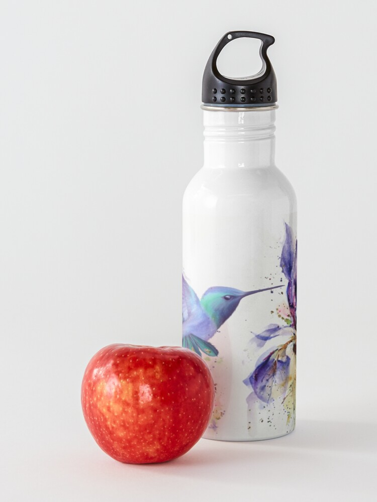 Alternate view of Hummingbird Floral Watercolor Purple Tones Water Bottle