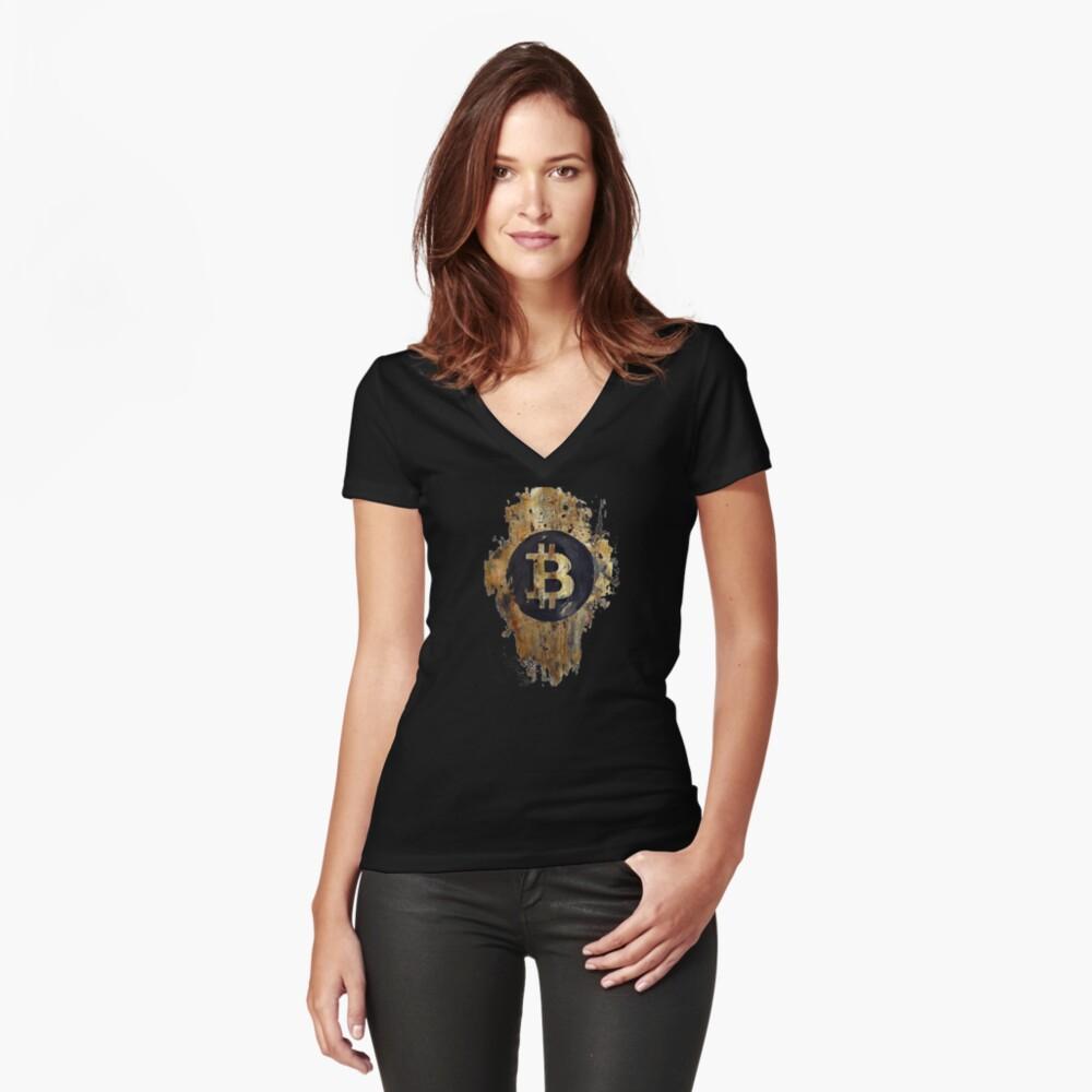 Sello Bitcoin Camiseta entallada de cuello en V