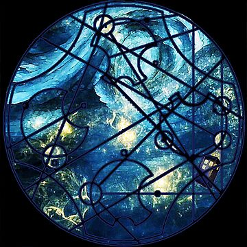 "Dr. Who Gallifreyan ""Dream Improbable Dreams"", with Tardis, blue universe, black border by hgwells"