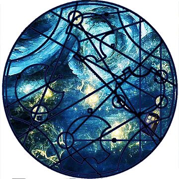 "Dr. Who Gallifreyan ""Dream Improbable Dreams"", with Tardis, blue universe, white border by hgwells"