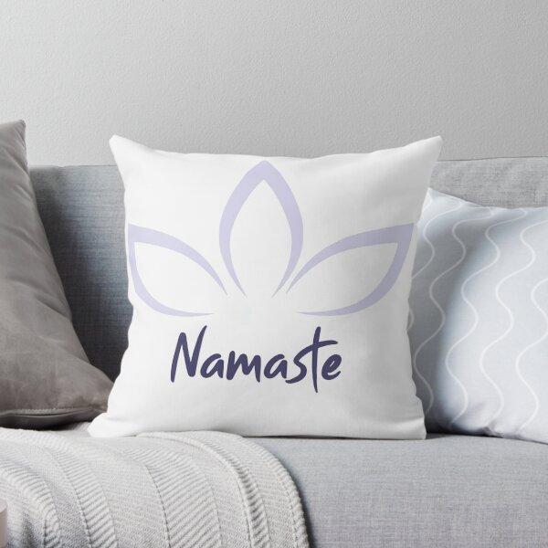 Namaste Lotus Flower Greeting Throw Pillow