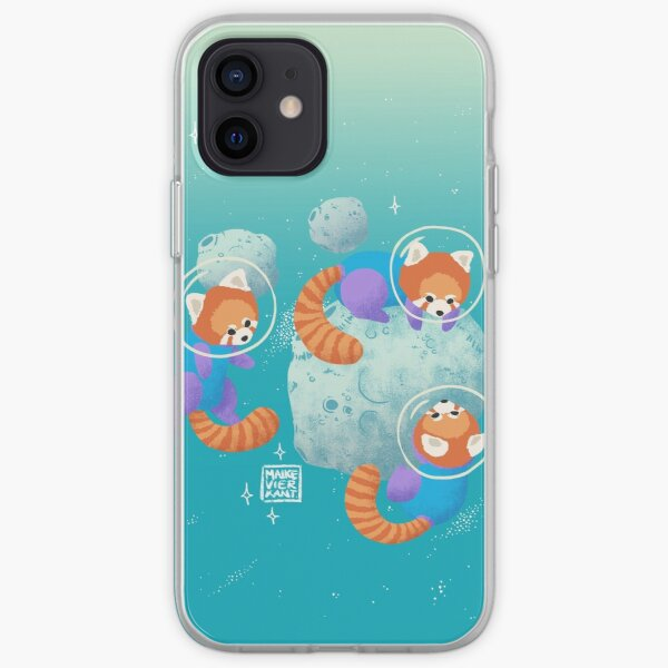 Red Space Pandas in Brighter Skies iPhone Soft Case