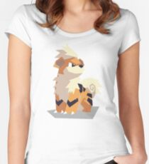 Cutout Growlithe Women's Fitted Scoop T-Shirt