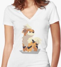 Cutout Growlithe Women's Fitted V-Neck T-Shirt