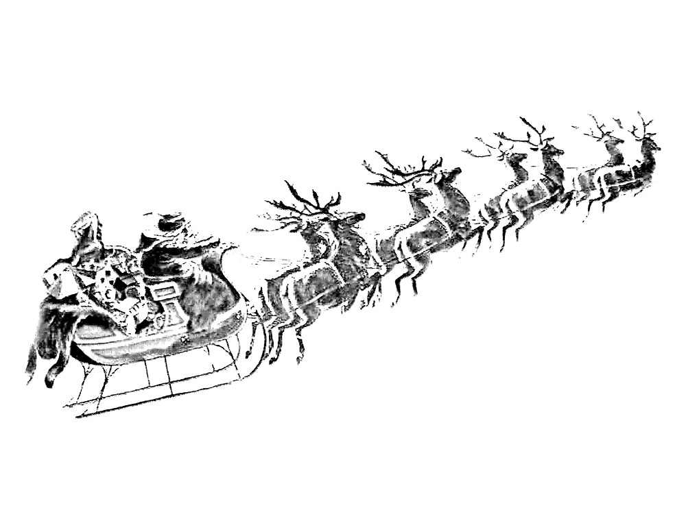 Quot Reindeer Pulling Santa S Sleigh Old Fashioned Christmas