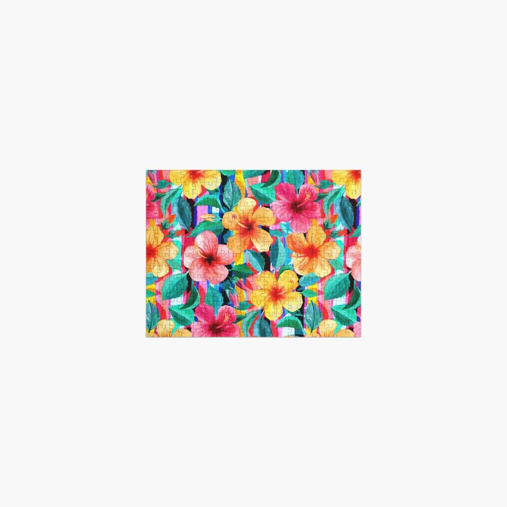 OTT Maximalist Hawaiian Hibiscus Floral with Stripes Jigsaw Puzzle