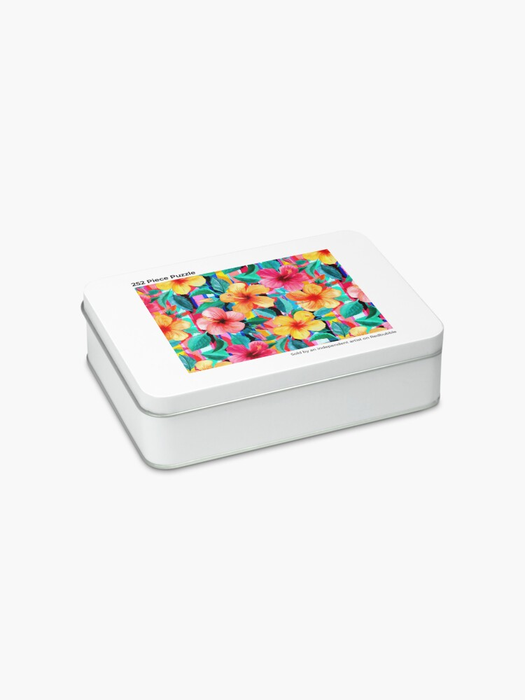 Alternate view of OTT Maximalist Hawaiian Hibiscus Floral with Stripes Jigsaw Puzzle